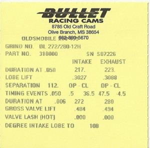 The cam card... lift and duration numbers to get the job done.
