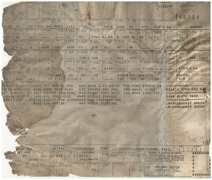 A legible scan of the build sheet… I felt like Indiana fuckin' Jones!