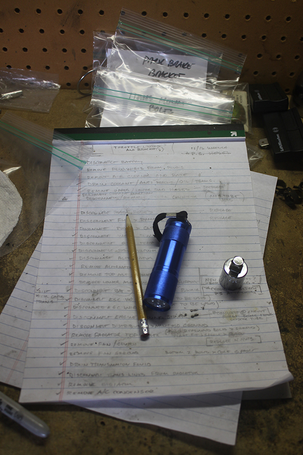 Dis-assembly chronicled on a legal pad. Parts labeled and put in zip-loc bags. I'll be glad I did this…