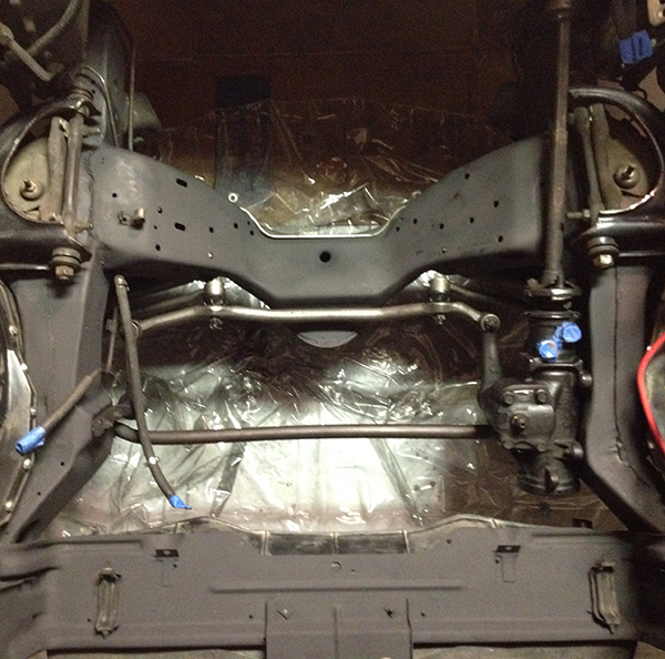 Radiator core support, cross member, and frame rails... blasted with paint and detailed...