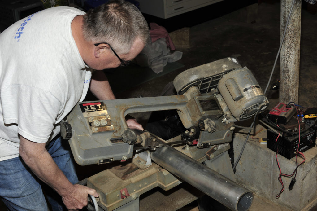 There's Gary manning the band saw. It served its purpose ably, but slowly.